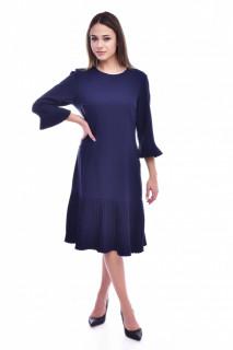 Rochie midi cu maneci plisate-bleumarin-