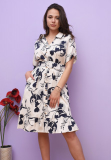 Rochie midi eleganta cu imprimeu floral si curea - Karina- bleumarin