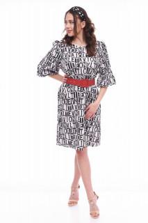 Rochie midi eleganta cu imprimeu si maneci bufante