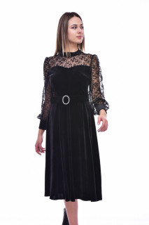 Rochie midi eleganta din dantela si catifea