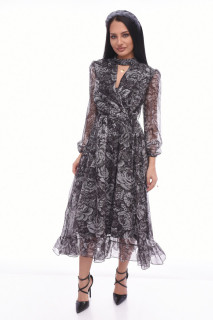 Rochie midi eleganta din voal cu imprimeu floral Marylin - gri-
