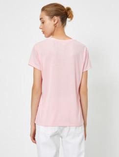 Tricou dama casual cu imprimeu floral - roz
