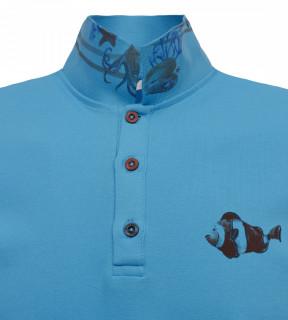 Tricou Polo Barbati Slim Fit Tony Montana - albastru