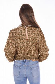 Bluza cu guler inalt si imprimeu floral-galben-