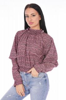 Bluza cu guler inalt si imprimeu floral-roz-