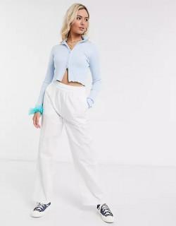 Bluza din tricot cu fermoar-bleu-E-