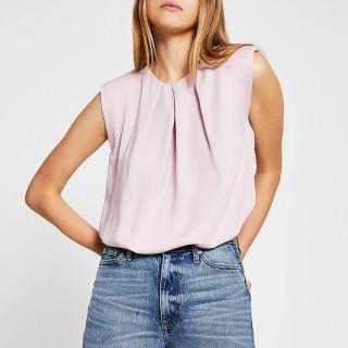 Bluza fara maneci eleganta- roz prafuit