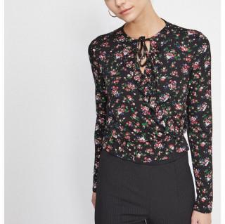 Bluza neagra cu imprimeu floral - E