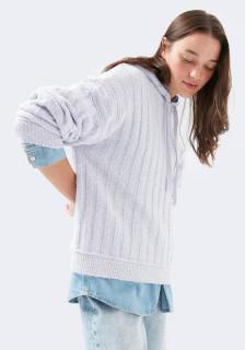 Bluza oversize din tricot cu gluga- lila -E