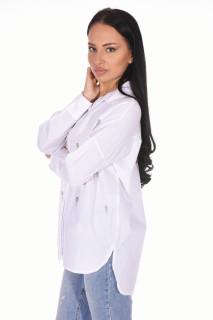 Camasa dama casual cu strasuri - alb-
