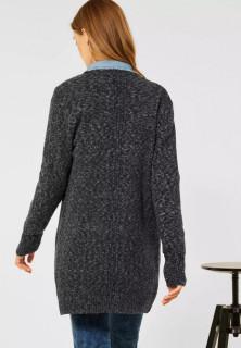 Cardigan din tricot gros cu buzunare - gri inchis- E