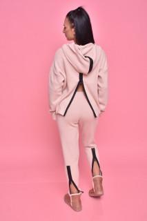 Compleu dama Iris din doua piese din tricot roz prafuit