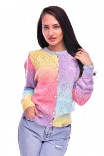 Pulover dama multicolor cu nasturi