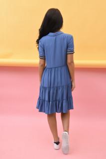 Rochie dama mini de vara cu guler clasic si volane- Elli - albastru