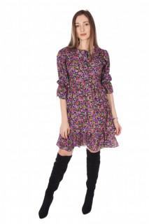 Rochie de zi cu imprimeu floral- roz -