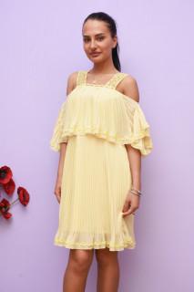 Rochie eleganta plisata cu volane - galben