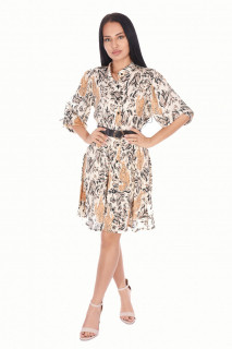 Rochie eleganta satinata cu imprimeu- bej-
