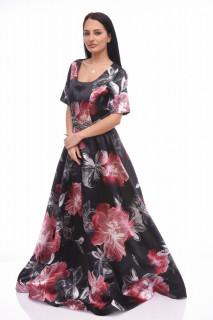 Rochie lunga de ocazie satinata cu imprimeu floral rosu