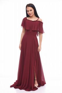 Rochie maxi eleganta din voal-burgundy-