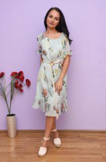 Rochie midi cu imprimeu floral si volane -Marina-turcoaz