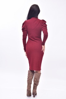 Rochie midi din tricot cu maneci bufante - grena