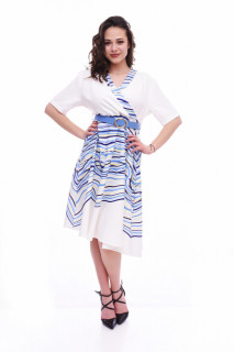 Rochie midi eleganta cu curea- Lara - albastru