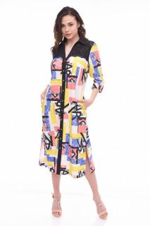 Rochie midi eleganta cu imprimeu multicolor Valery