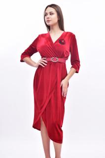 Rochie midi eleganta din catifea - rosu