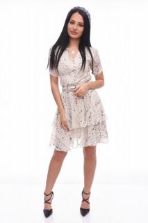 Rochie midi eleganta vaporoasa Selena- bej