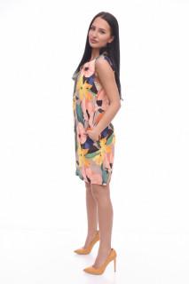 Rochie mini casual cu imprimeu floral multicolor