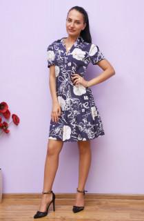 Rochie mini casual cu volane si imprimeu - Tanya- bleumarin
