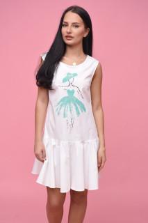 Rochie mini cu volane si imprimeu turcoaz Cynthia