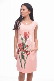 Rochie mini eleganta roz cu imprimeu floral-E