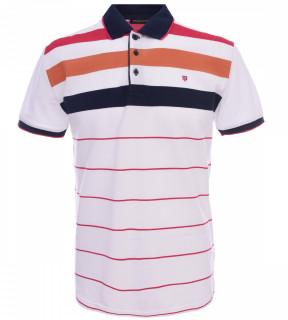 Tricou Polo Barbati Regular fit Tony Montana cu dungi - alb/rosu