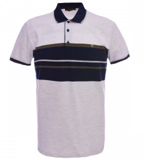 Tricou Polo Barbati Regular fit Tony Montana cu dungi - gri/bleumarin