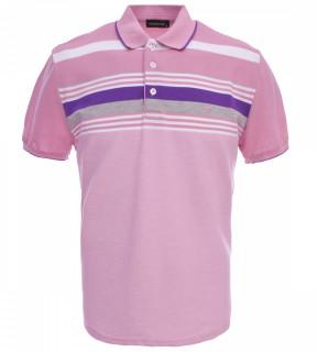 Tricou Polo Barbati Regular fit Tony Montana cu dungi - roz/mov