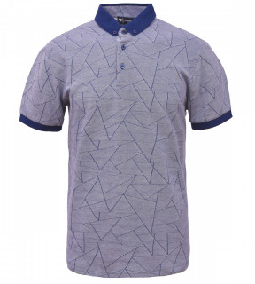 Tricou Polo Barbati Regular Fit Tony Montana- Geometric -albastra