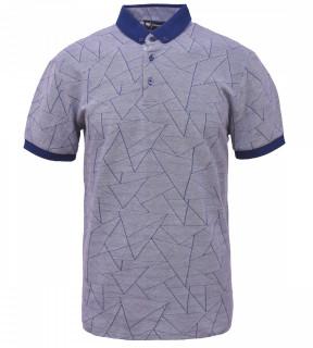 Tricou Polo Barbati Regular Fit Tony Montana- Geometric -albastru