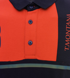 Tricou Polo Barbati Regular Fit Tony Montana - portocaliu/bleumarin