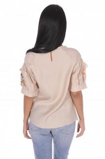Bluza dama cu maneca scurta si broderie florala-bej-