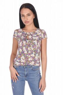 Bluza din vascoza cu imprimeu floral Petite -mov-