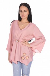 Bluza eleganta cu maneci evazate si cordon -roz corai-