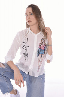 "Camasa casual "" Beautiful ""-E-alb-"