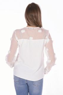 Camasa eleganta cu ciucuri-alb-
