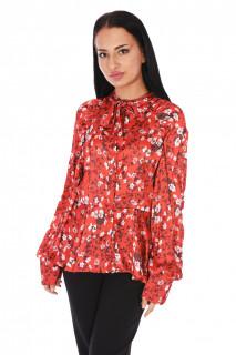 Camasa eleganta satinata cu imprimeu floral- rosu