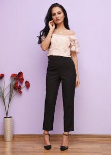 Pantaloni conici cu talie inalta si strasuri decorative -E