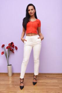Pantaloni dama conici albi
