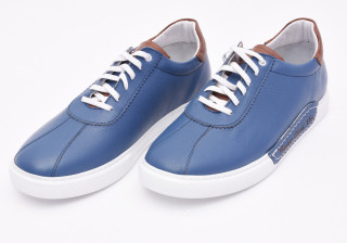 Pantofi sport barbati albastri din piele naturala Tony Montana