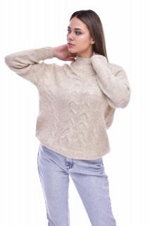 Pulover dama din tricot gros cu detalii decorative - bej
