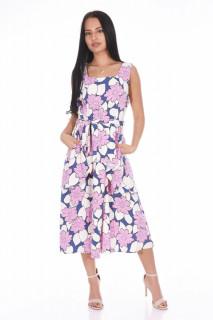 Rochie din vascoza cu imprimeu floral si volane-E-